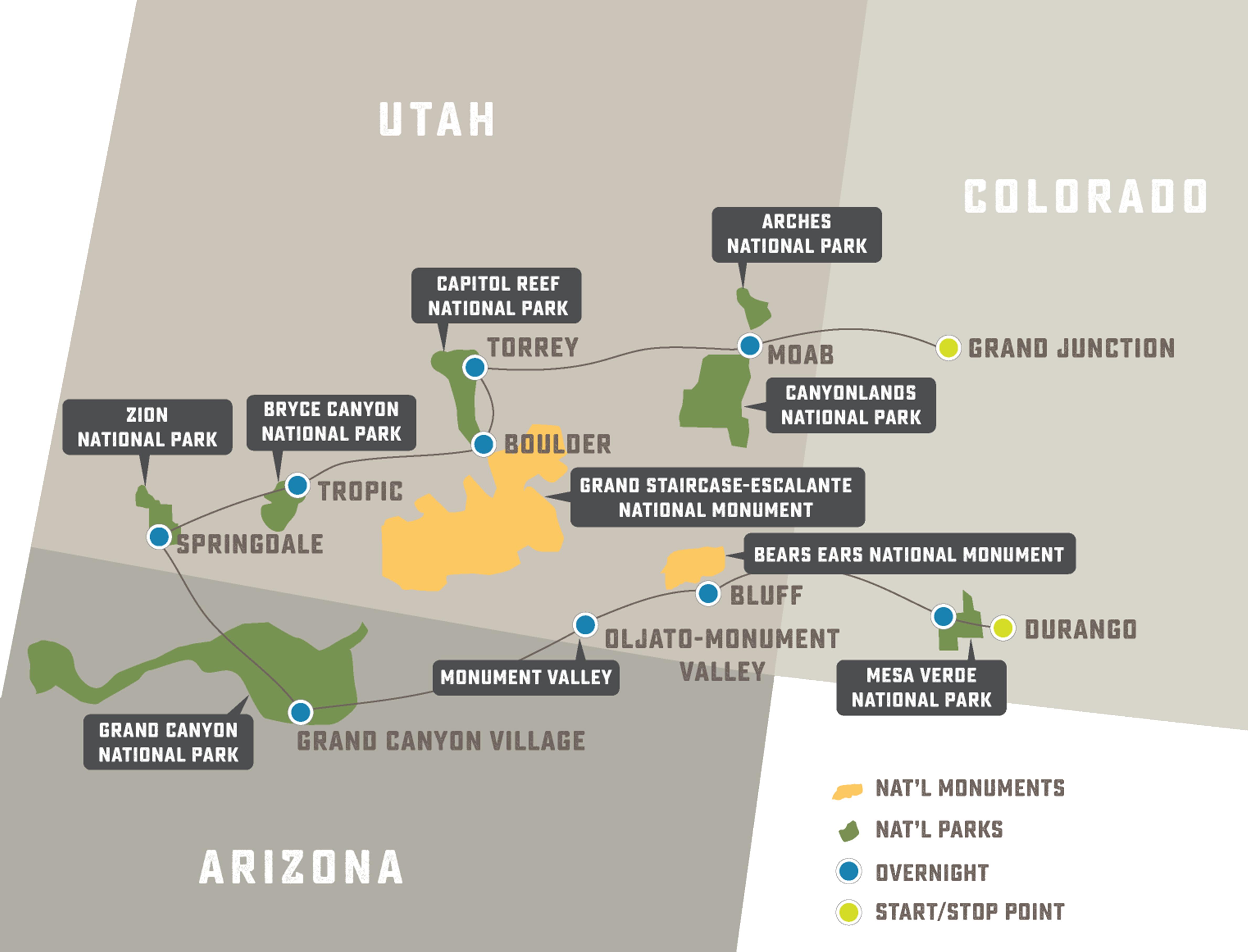 Southwest National Parks Grand Slam - Trip Map