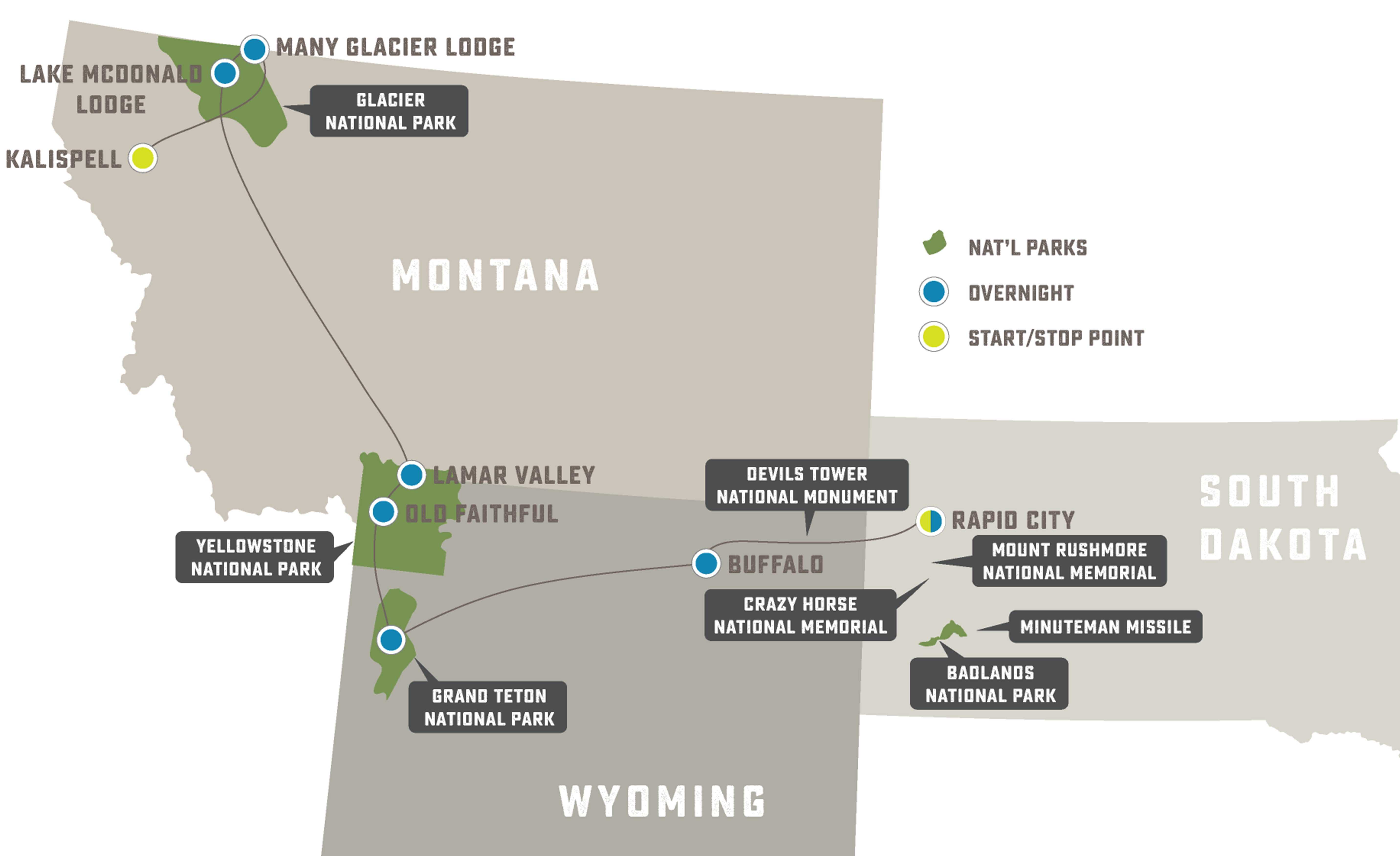 Rocky Mountain National Parks Grand Slam - Trip Map