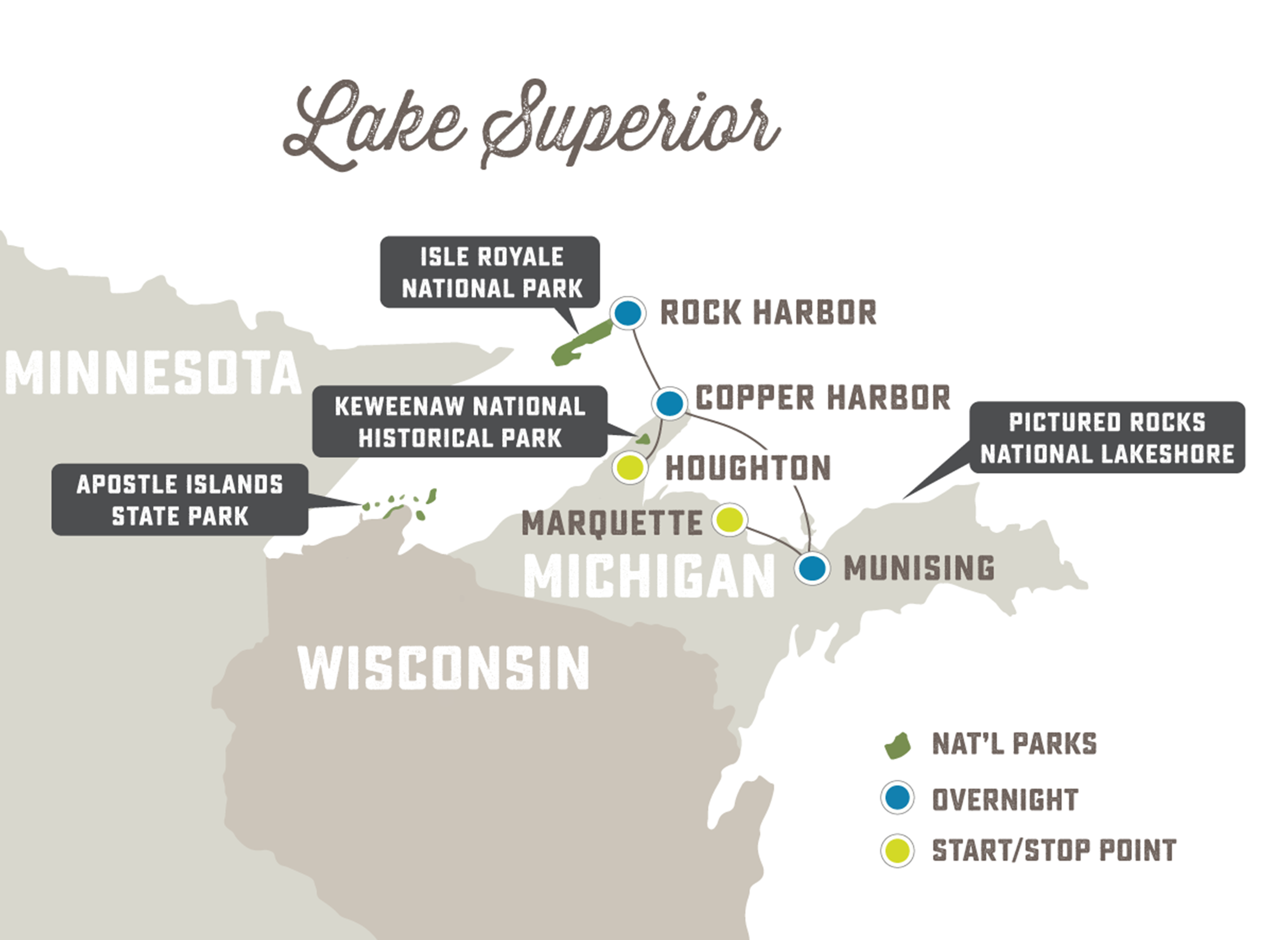 Adventure to Isle Royale and Pictured Rocks - Trip Map