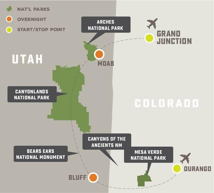 Arches, Canyonlands, Bears Ears and Mesa Verde - Trip Map