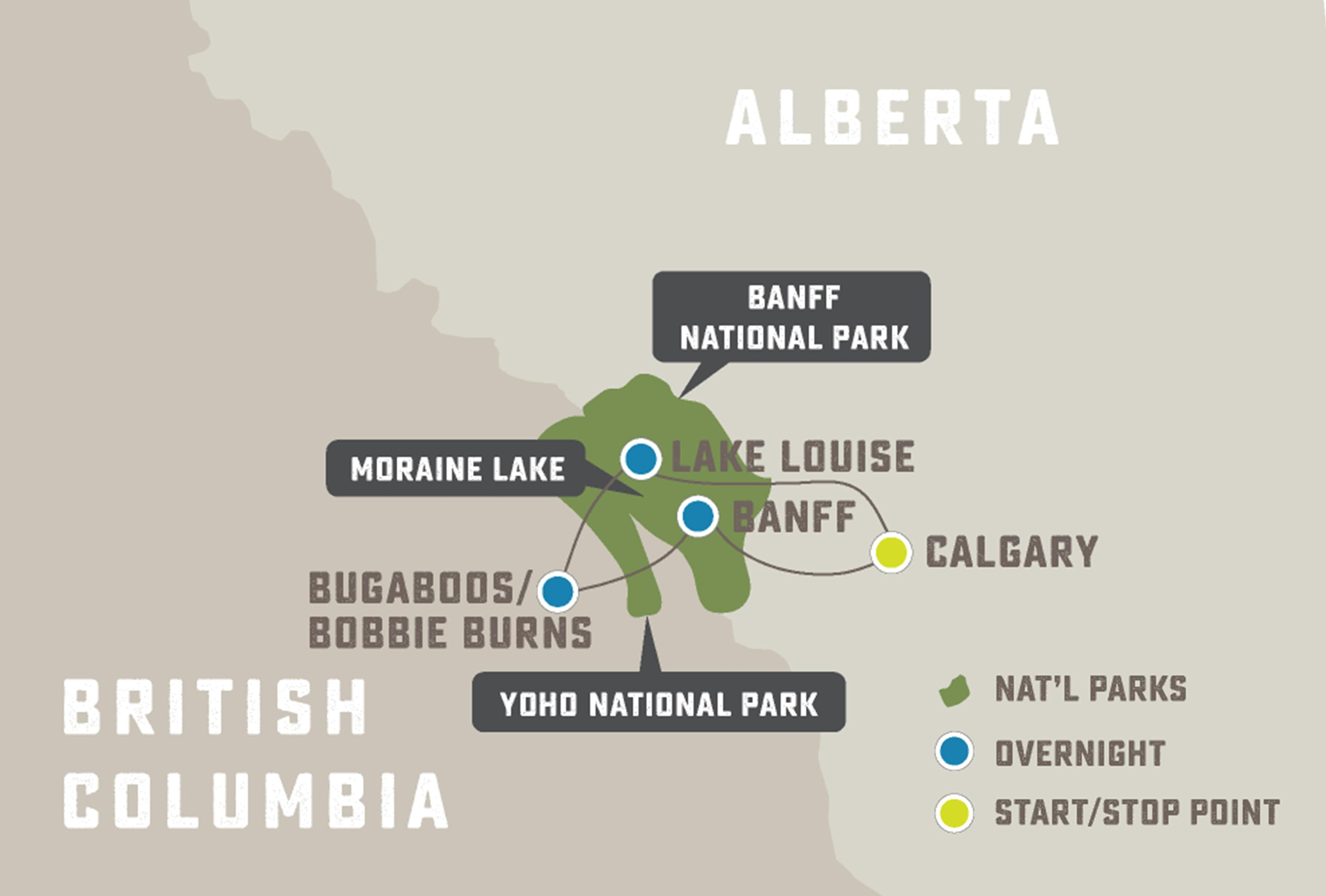 Heli-Hiking in the Canadian Rockies - Trip Map