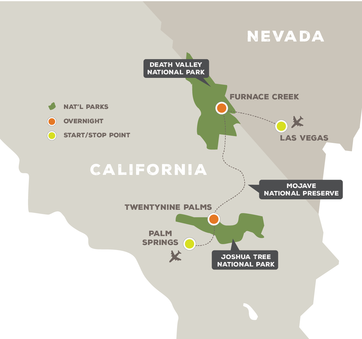 New Years in Joshua Tree and Death Valley - Trip Map