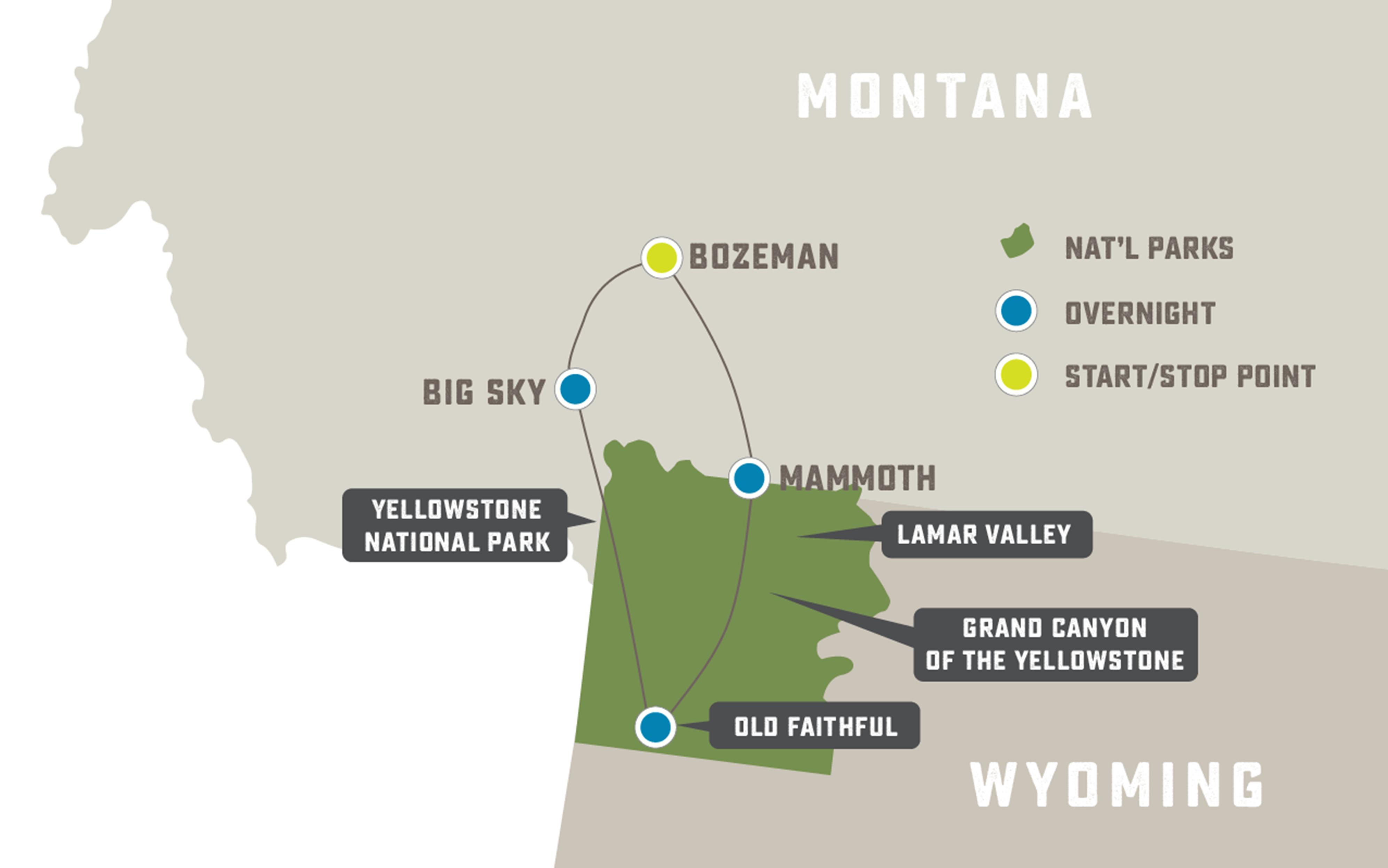 Yellowstone's Winter Magic - Trip Map