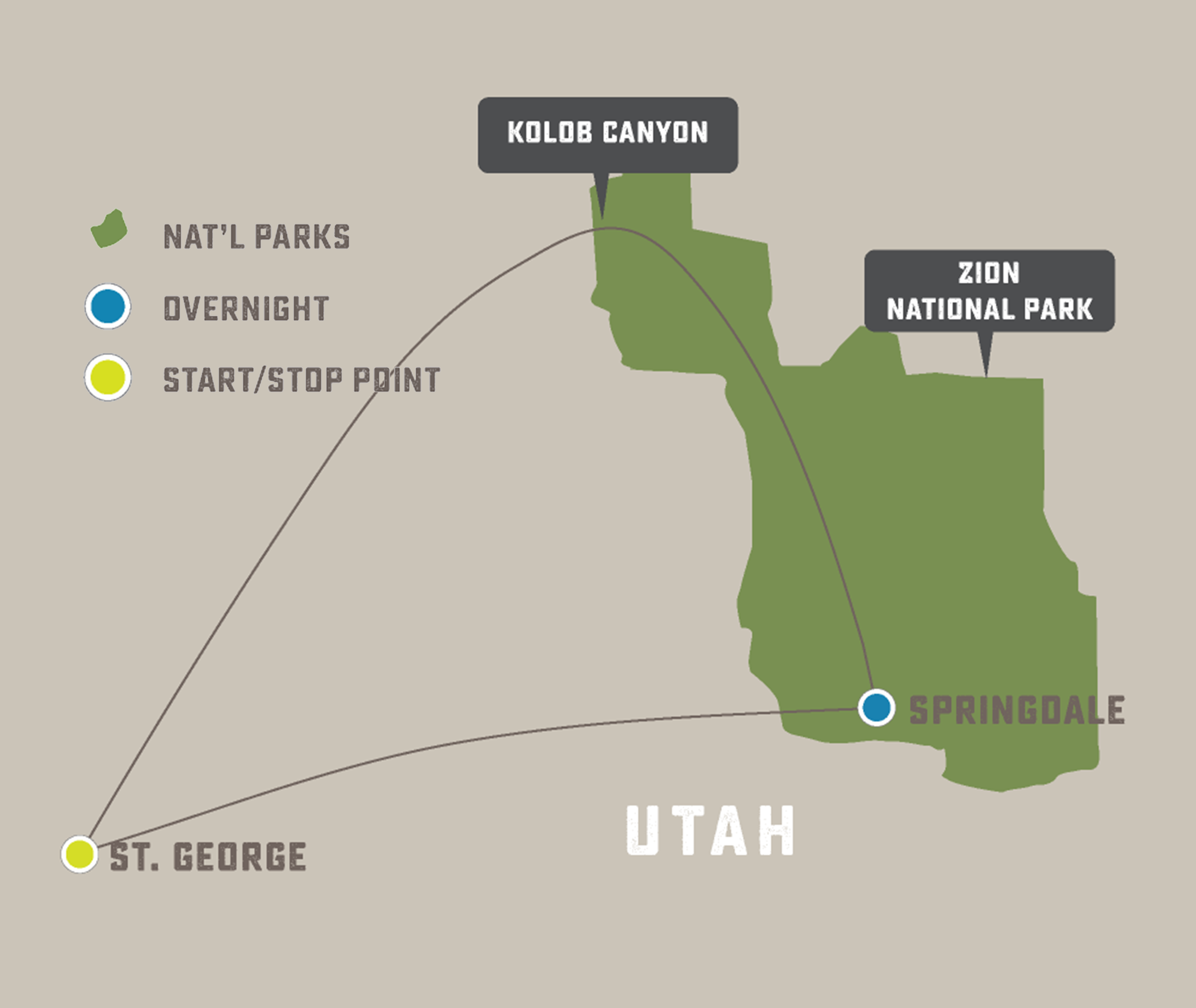 Zion New Year - Trip Map
